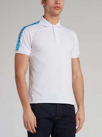 White Logo Tape Shoulder Polo Shirt