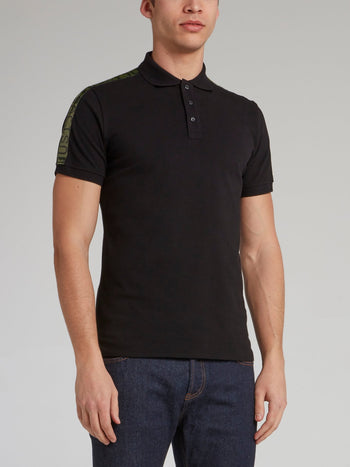 Black Logo Tape Shoulder Polo Shirt