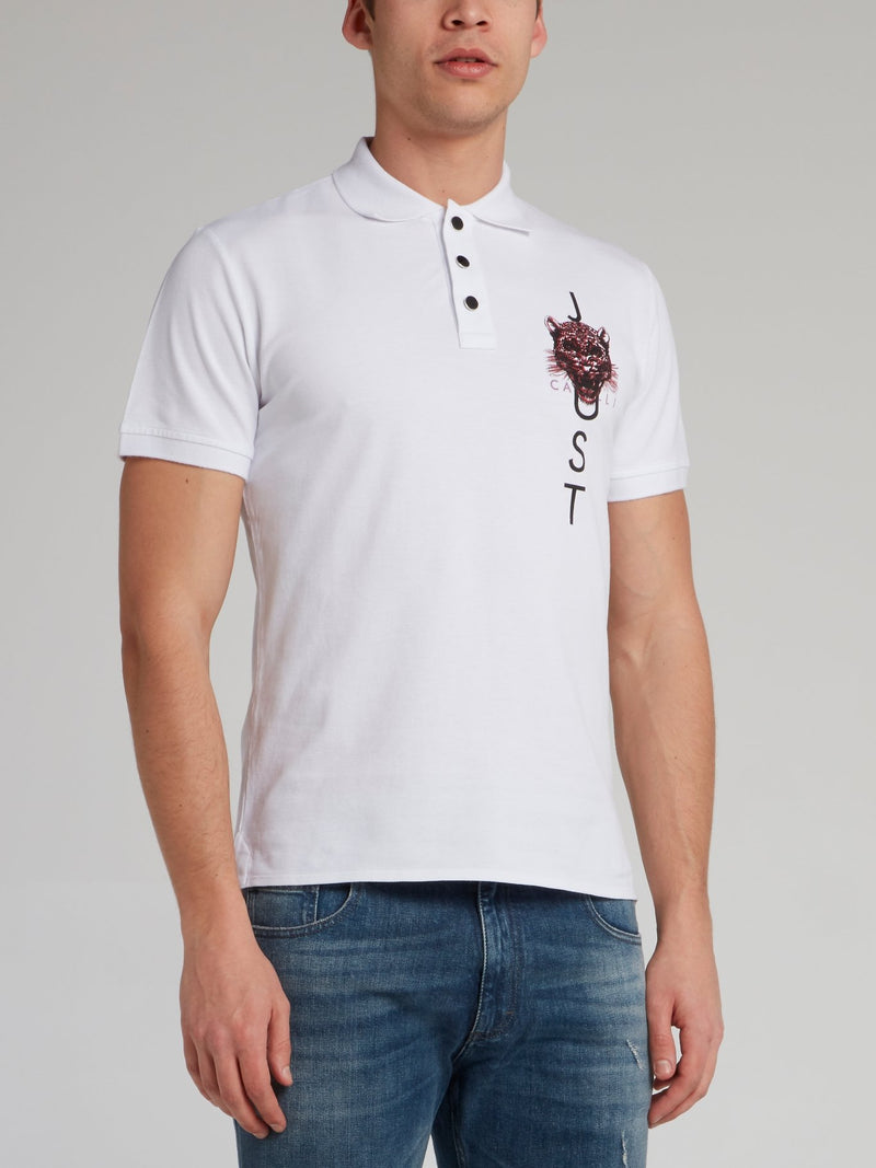 White Leopard Head Print Polo Shirt