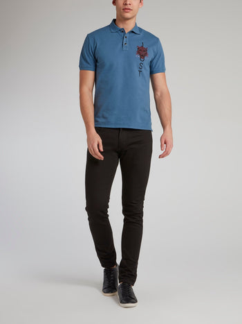 Blue Leopard Head Print Polo Shirt