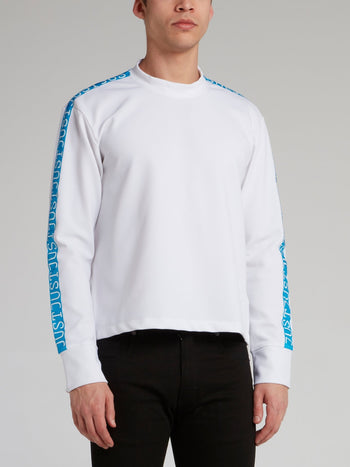 White Logo Tape Crewneck Sweatshirt