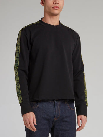 Black Logo Tape Crewneck Sweatshirt