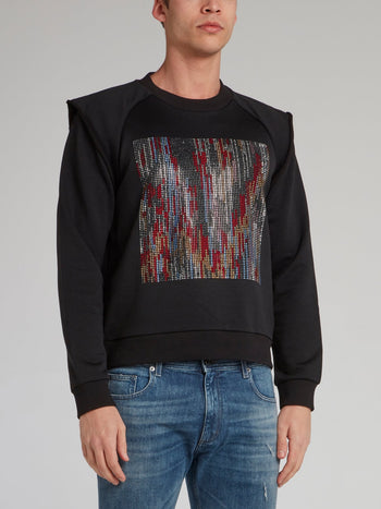 Black Multi-Stud Overlay Sweatshirt