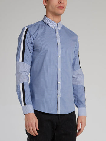 Blue Check Contrast Detail Shirt