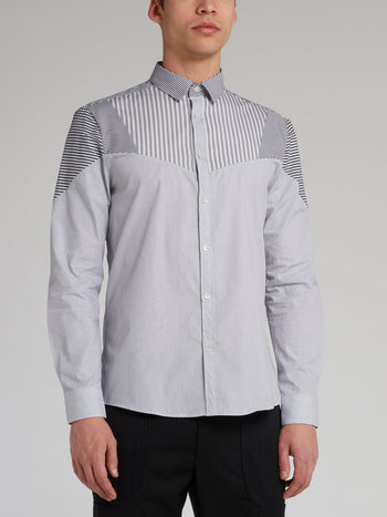 Grey Multi-Stripe Button Up Shirt