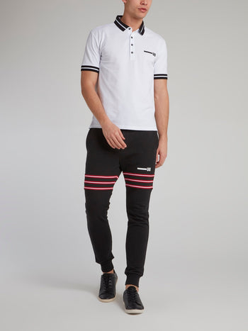 White Stripe Trim Polo Shirt