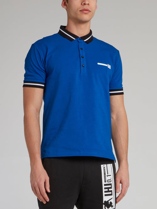 Blue Stripe Trim Polo Shirt