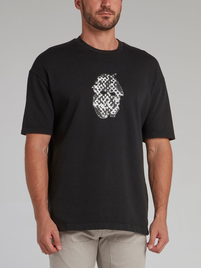 Black Abstract Print Cotton T-Shirt