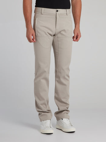 Beige Paneled Chino Pants