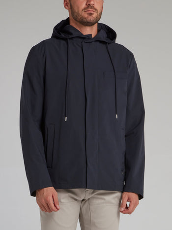 Navy Button Up Hooded Jacket