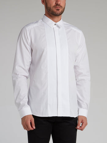 White Pinstripe Panel Shirt