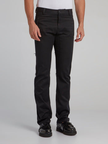 Black Paneled Chino Pants