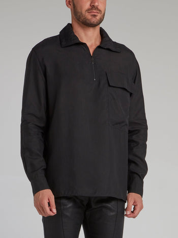 Black Abstract Print Cargo Shirt
