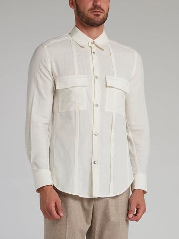 White Button Up Cargo Shirt