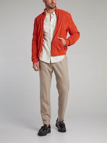 Khaki Straight Leg Tweed Pants