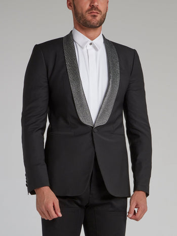 Black Contrast Single Breasted Blazer