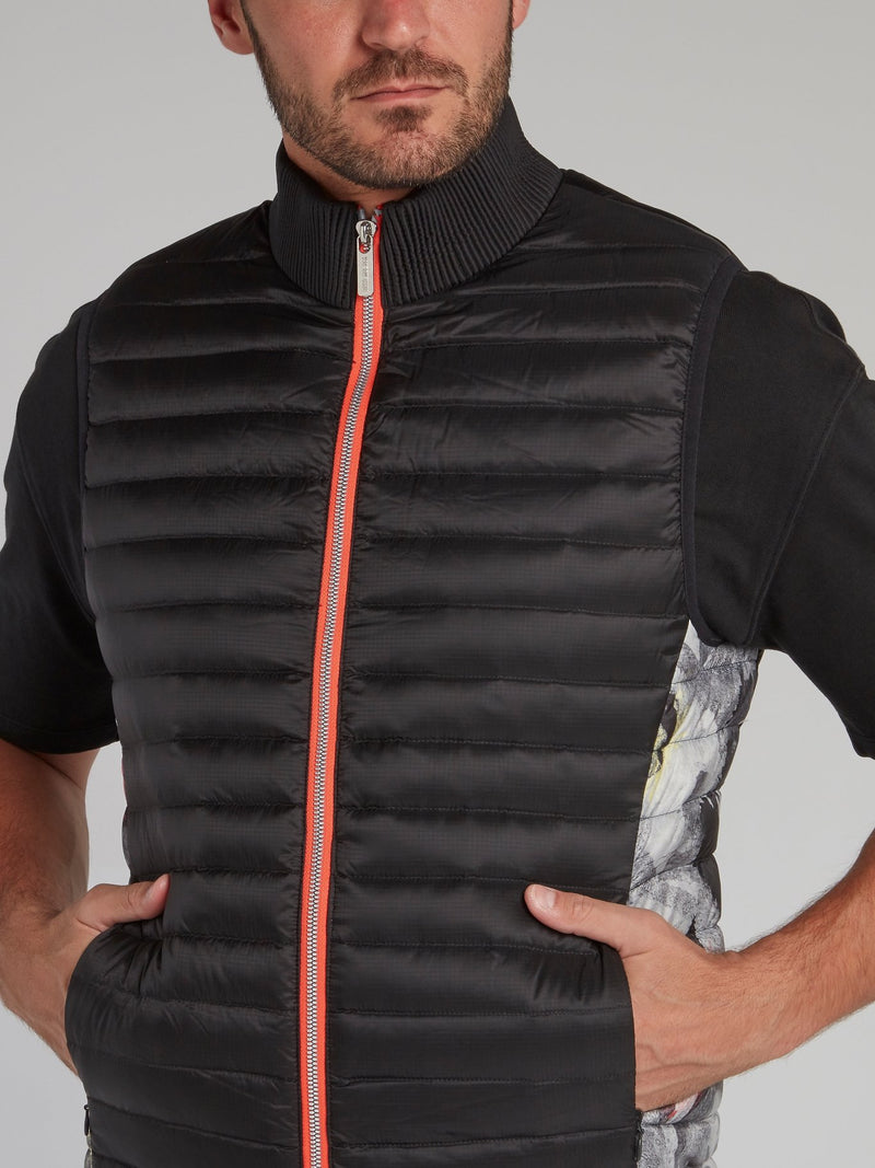 Black Sleeveless Quilted Jacket
