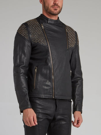 Black Spike Studded Leather Jacket