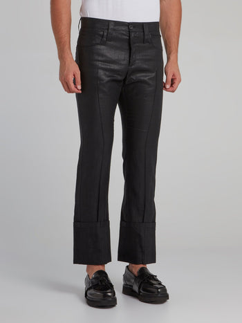 Black Pleated Bootcut Trousers