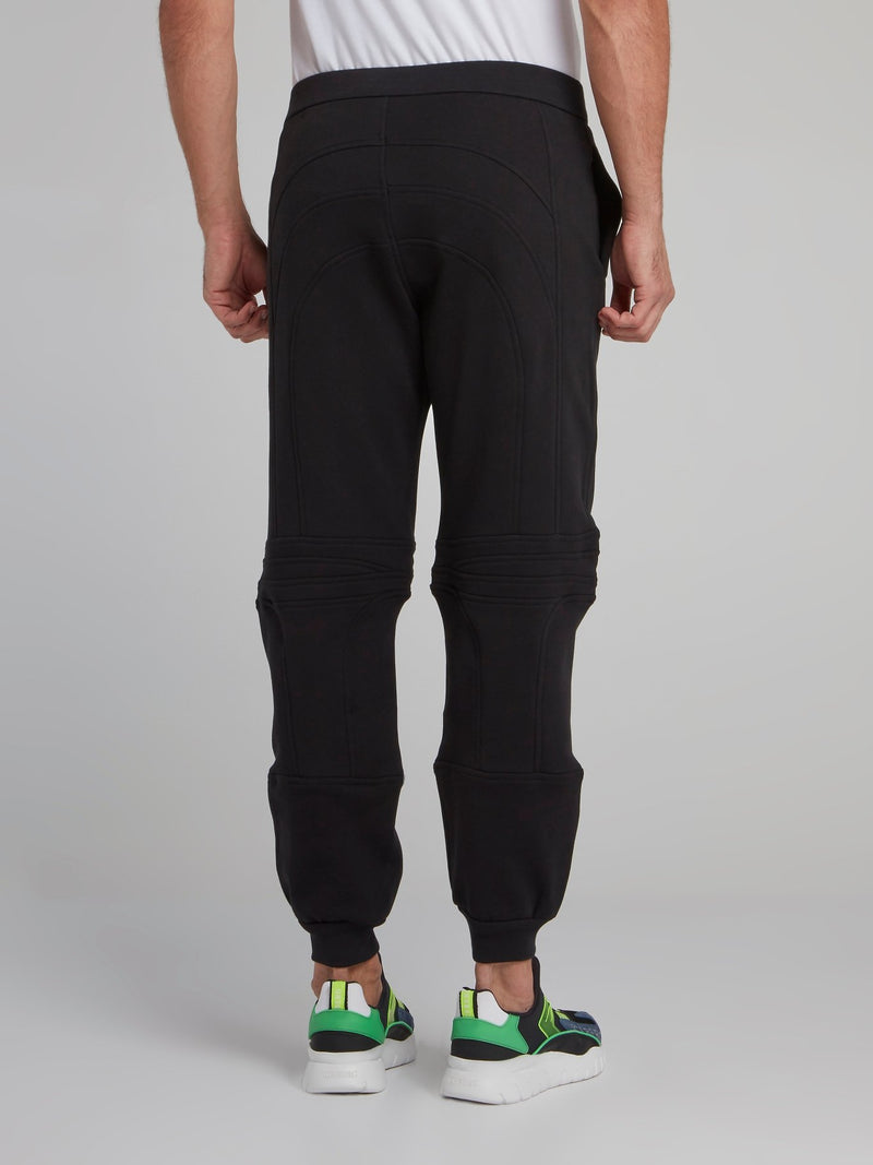 Black Geometric Active Trousers