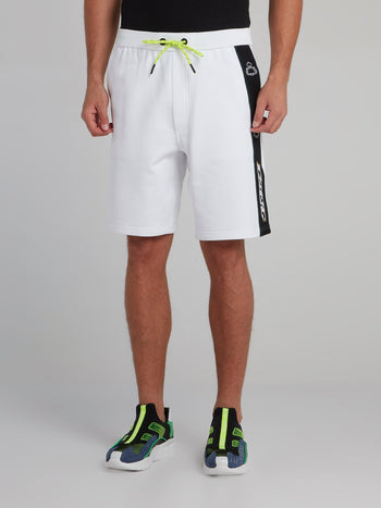 White Logo Tape Seam Shorts