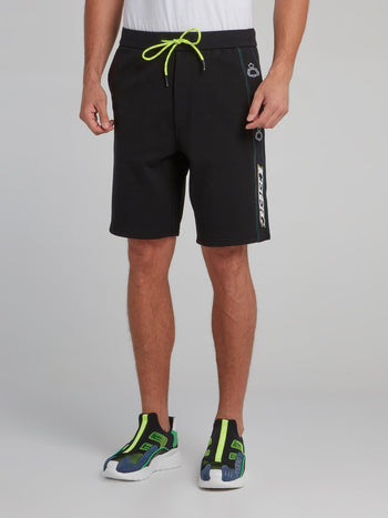 Black Logo Tape Seam Shorts