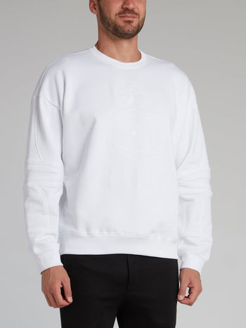 White Embroidered Monogram Sweatshirt