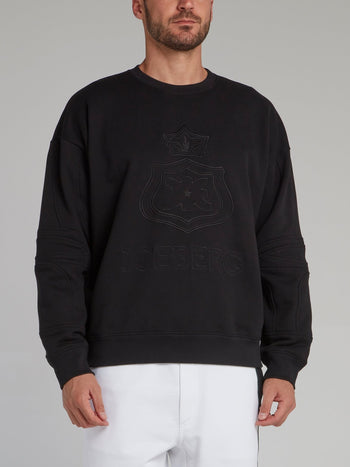 Black Embroidered Monogram Sweatshirt
