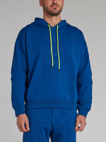 Blue Embroidered Monogram Hoodie
