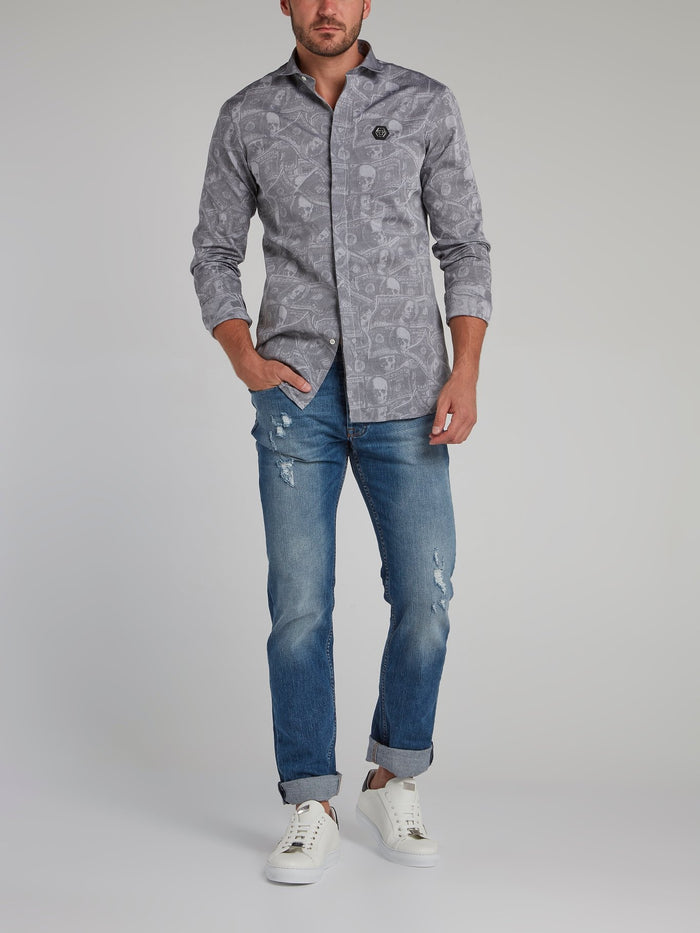 Grey Dollar Skull Print Shirt
