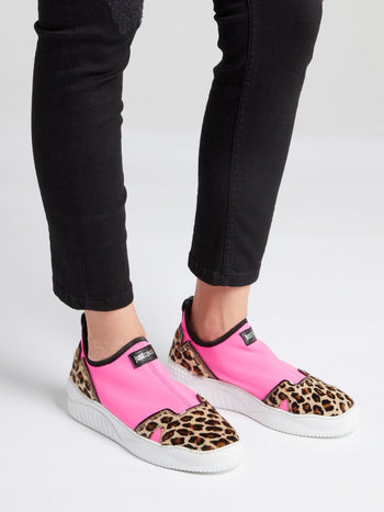 Leopard Panel Slip On Sneakers