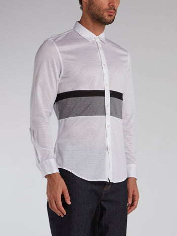 White Contrast Panel Shirt