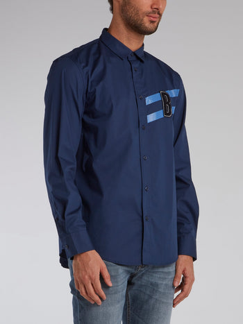Navy Monogram Appliquéd Shirt