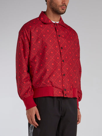 Red Mosaic Print Button Up Jacket