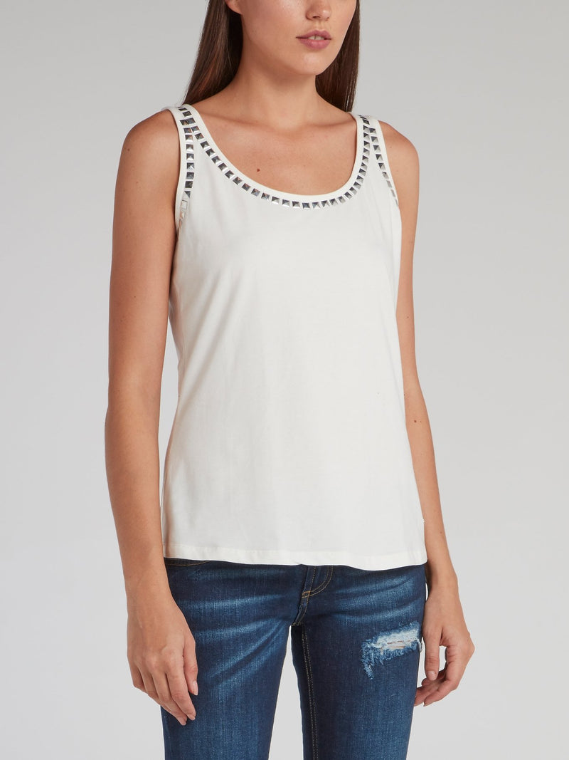 Lisen White Embellished Vest Top