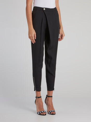 Black Asymmetric Tapered Pants