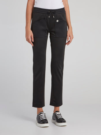 Black Pocket Detail Jersey Pants