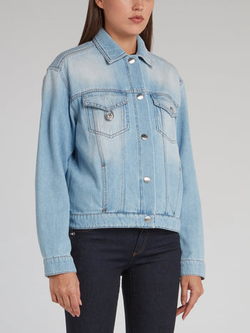 Rear Collage Print Denim Jacket