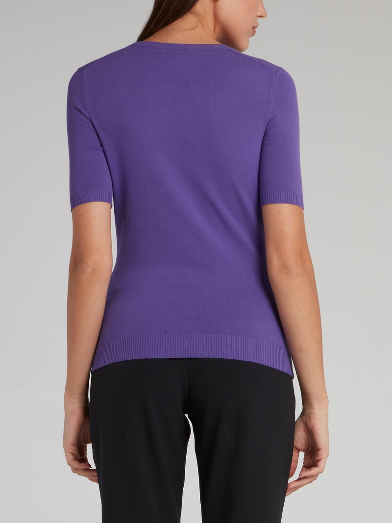 Purple Embellished Cut Out Top