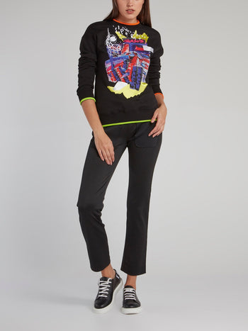 Black Abstract Print Sweatshirt