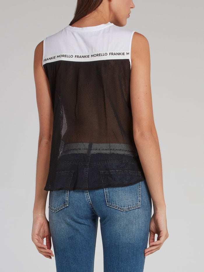 Audrey Net Mesh Panel Cut Off Top