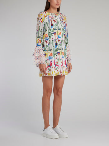 Nora Bell Sleeve Printed Mini Dress
