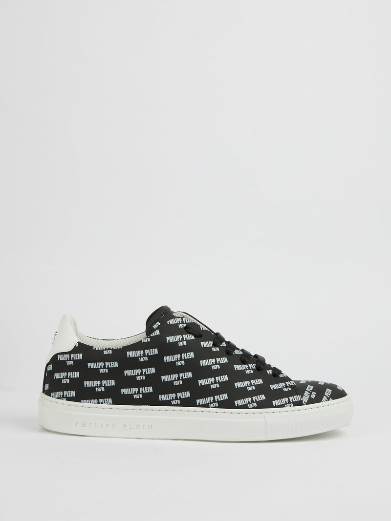 Yaeger Black Monogram Print Low Top Sneakers