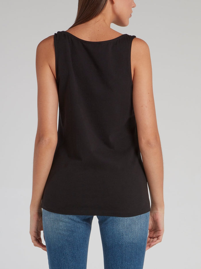 Lisen Black Embellished Vest Top