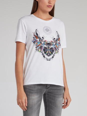 Lorraine White Abstract T-Shirt