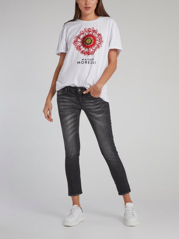 Stone Washed Capri Jeans
