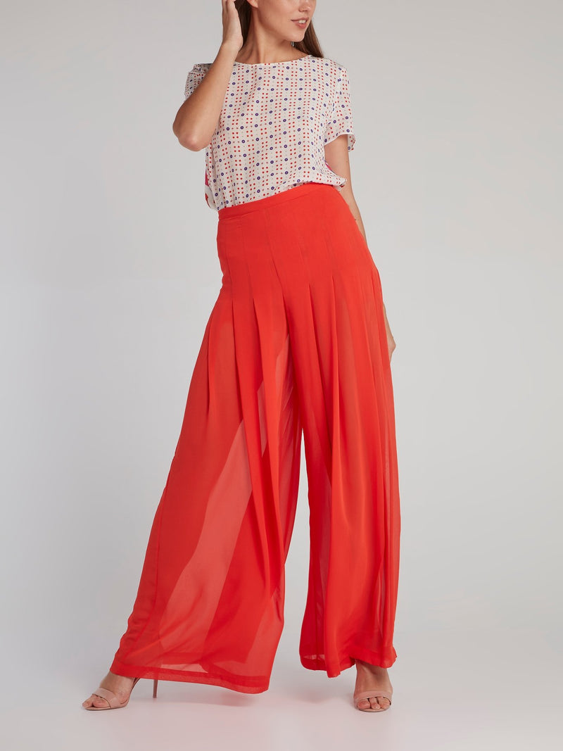 Coline Red Pleated Palazzo Pants