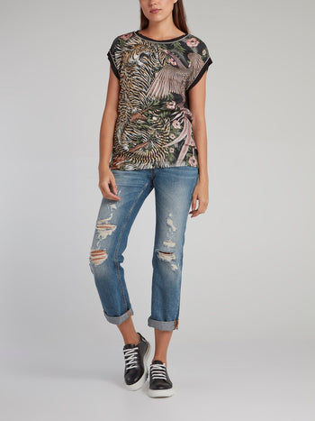 Jungle Print Cap Sleeve Top