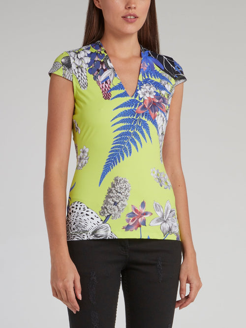 Tropical Print Fitted Top