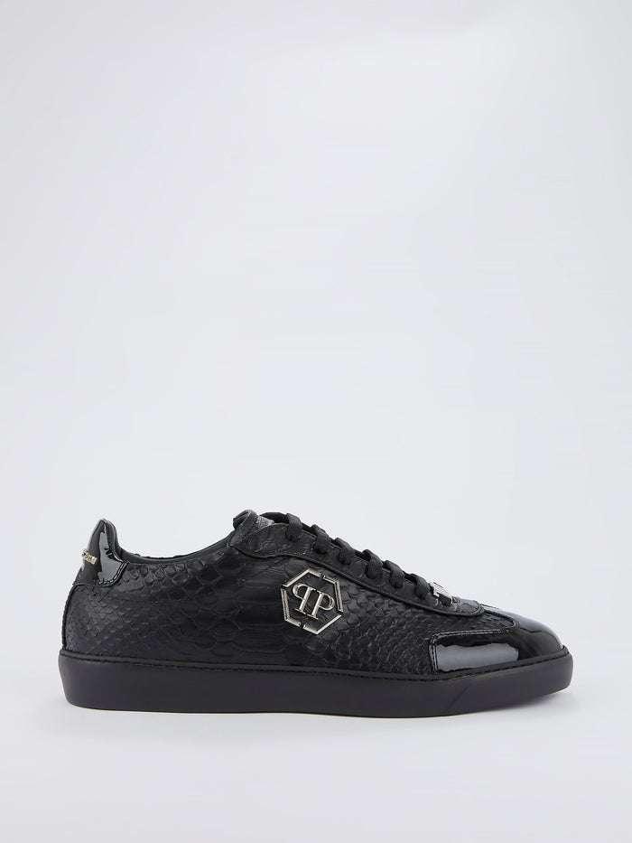 Black Crocodile Effect Leather Sneakers